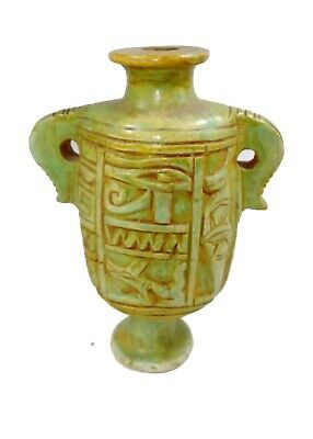 Egyptian Antique Cosmetic Makeup Jar Horus Eye Stone Pottery Vase Beauty Secrets