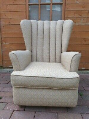 Lovely Vintage French Art Deco Style Upholstered Armchair On Casters.