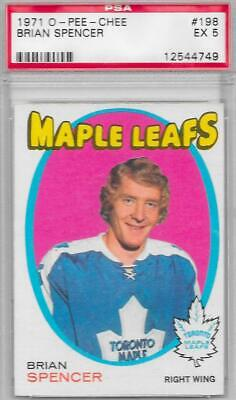 1971-72 OPC O-Pee-Chee hockey Brian Spencer RC rookie card EX PSA 5 MAPLE LEAFS