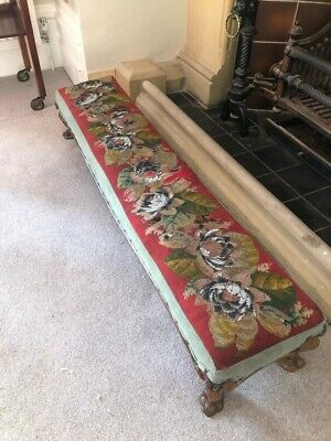 Edwardian Antique Long Fender Foot Stool Tapestry with Cabriole Legs