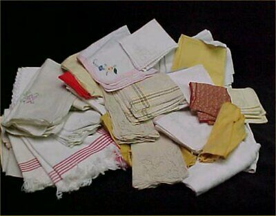 Vintage LOT Cloth Napkins Dinner 95 Damask Embroidered & More Mixed Sizes