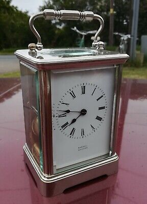 Silvered brass, striking on gong Carriage Clock, Russell Malvern, 13cm tall