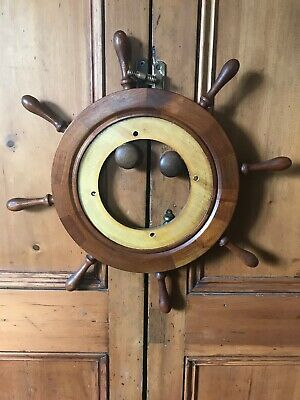 Gorgeous Vintage Ships Wheel Clock/Mirror/Picture Wooden Surround Only
