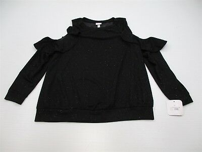 new ISABEL MATERNITY K3096 Women Size XL Ruffle Cold Shoulder Black Sweater Top