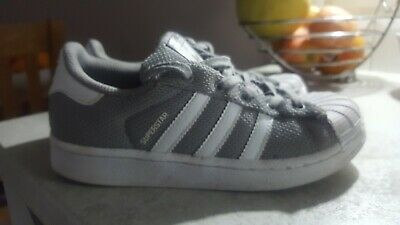 ADIDAS SUPERSTAR SILVER Grey kids trainers size 6 EUR 11