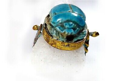 Egyptian Antiques Amulet Ring Blue Stone Magical Protection Scarab Beetle
