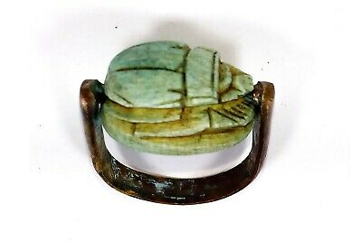 Egyptian Antiques Amulet Ring Green Stone Magical Protection Scarab Beetle