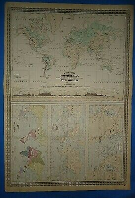 Vintage 1873 PHYSICAL MAP of the WORLD ~ Old Antique Original Atlas Map