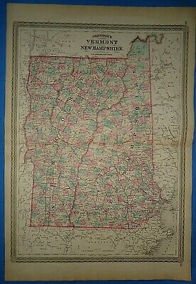 Vintage 1873 VERMONT NEW HAMPSHIRE MAP ~ Old Antique Original Johnson Atlas Map