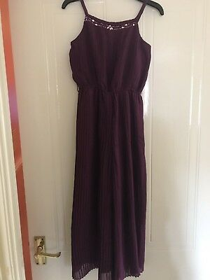 Beautiful Girls Purple Monsoon Occasions Pleated Jumpsuit Age 6yrs Worn Once