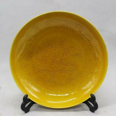 Chinese ancient antique hand make Yellow glaze  Dragon pattern plate a657