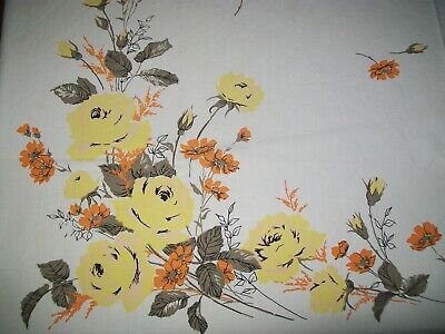 Vintage Tablecloth Yellow Roses, Orange Flowers