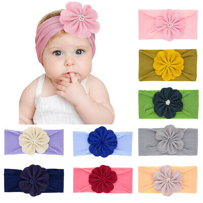 Kids Baby Nylon Headbands Girls Flower Bow Hairband Elastic Turban Head Wraps