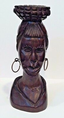 """Vintage Hand Carved Brazil Iron Wood  Bust Woman With Basket Figure 10"""" Tall"""