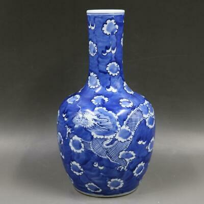 Chinese ancient antique hand make Blue and white  Dragon pattern  vase a701