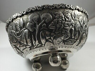 Superb Thai Silver Ball Footed Bowl Old Burmese Traditional Romance 392 Grms
