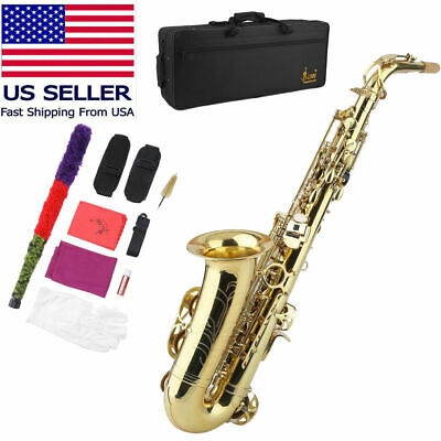 New Professional Eb Alto Sax Saxophone Paint Gold with Case and Accessories US