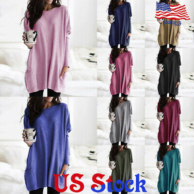 Women's Casual Pocket Pullover T-shirt Tops Lady Loose Baggy Long Sleeve Blouse