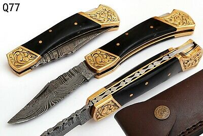 Hand Forged Damascus Steel Folding Pocket Knife With Brass - Horn Handle Aj 699