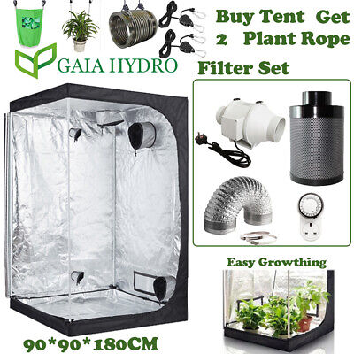 """4""""6"""" In Line Fan Carbon Filter & Duct Kit Hydroponic Grow Room Tent Ventilation"""