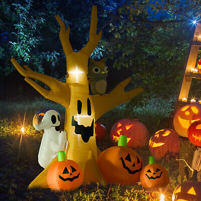 Lighted Halloween Inflatable Skull Ghost Azrael Grim Tree with Ghost 3 Pumpkins