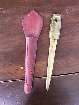"""Interesting Antique Very Old Brass or Bronze Letter Opener, 9"""""""