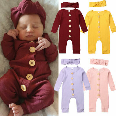 2PCS Newborn Baby Girl Boy Clothes Knitted Romper Jumpsuit Solid Outfits Set