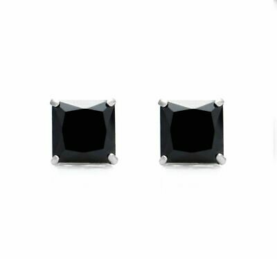 2Ct Princess Cut Black Diamond Solitaire Stud Earrings Solid 14K White Gold Over
