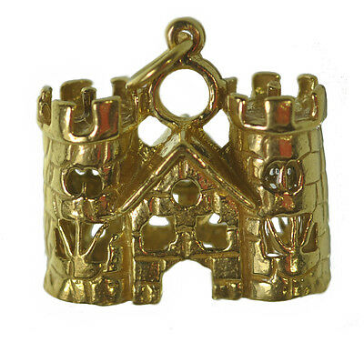 WOW Medieval 24K Gold plated Queen King Castle Charm Viking Fortress Town Hall