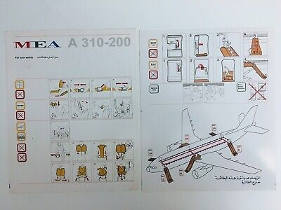 MEA - MIDDLE EAST AIRLINES  AIRBUS A 310-200 Safety Card ,