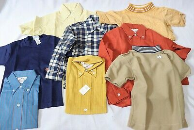 8 Vintage 70s Boys Shirts Tops Dead Stock sz 6 7