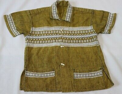 Vintage Boys loop Collar Woven Shirt Top Ethnic Tropical