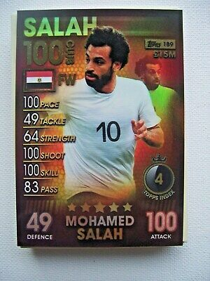 Topps Match Attax 101 Trading Card~100 Club Card # 189 Mohamed Salah~Mint