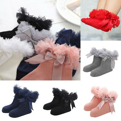 Socks Frilly Baby Ankle Infant Kids Girls Trim Ruffle Sock Princess Bowknot Lace