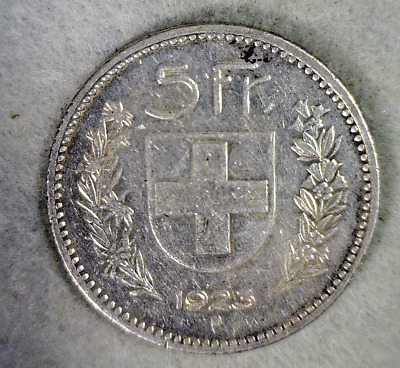 SWITZERLAND 5 FRANCS 1923 LARGE SWISS SILVER COIN (Stock# 289)