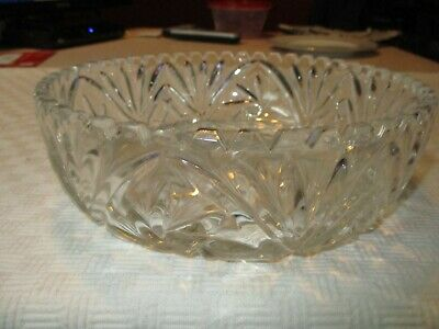 "Vintage Crystal Vines Starburst Clear Glass Bowl 9 1/4"" Scalloped Edges"
