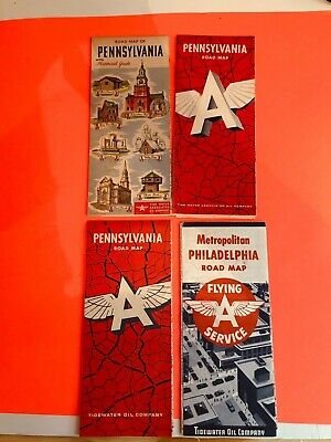 Lot Of 4 Vintage 1950'S Pa Flying A Road Maps