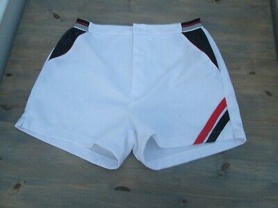 "Vintage white tennis shorts, size 30-32"", marked 46/48"