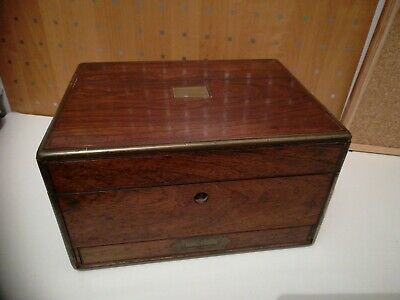 Antique Mahogany Brass Banded Jewellery Box With Secret  Drawer