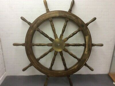 Antique Large Brass Set ten Spoke  Mahogany Ships Wheel, 19th Century 5ft wide