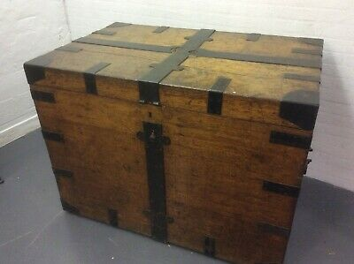 Antique Silver Chest,iron bound  English, Oak, Victorian Trunk,with original int