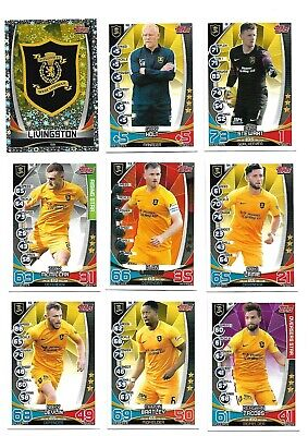 Mint Livingston 2019 / 20 Spfl Match Attax Football Trade Card Team Set
