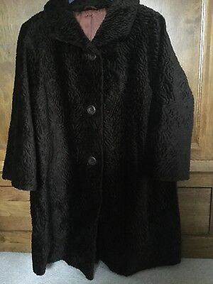 Gorgeous Quality Vintage Brown Astrakhan Lined Coat - Stunning - Size 10/12/12