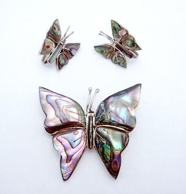 Vintage Taxco Mexican Sterling Silver Shell Butterfly Pin Earrings Set 24117