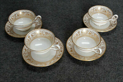 4 Sets Wedgwood Florentine Gold, W4219,  Cups & Saucers, Peony, Dragons, Mint