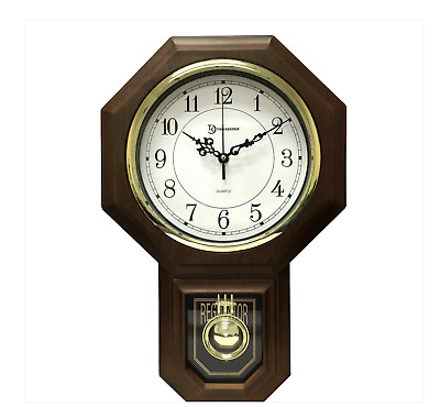 Pendulum Wall Clock Westminster Chime Faux Wood Frame Traditional Schoolhouse