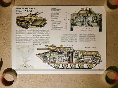 Authentic Original Soviet Military Poster BMD-1 Infantry Fighting Vehicle