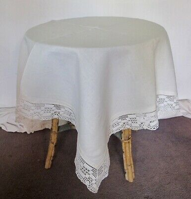 TABLECLOTH White LINEN Lush Hand made Lace Edge Antique Vintage Square France