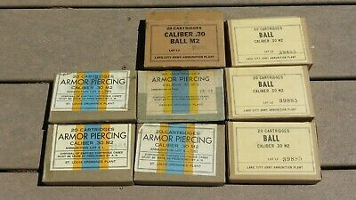 WW2 US ARMY MILITARY CARDBOARD Ammo AMMUNITION BOXES M1 Garand Caliber .30