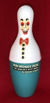 """PIN MONEY PETE"" Plastic Coin Bank by Spare – Bowler's Kitty Bank!"